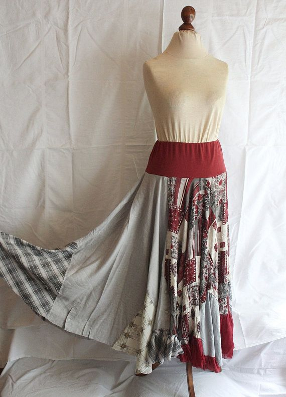 Repurposed Long Skirt made from Two Men's Shirts Upcycled Recycled Woman's Clothing Funky Style Shabby Chic Eco Friendly on Etsy, $77.77