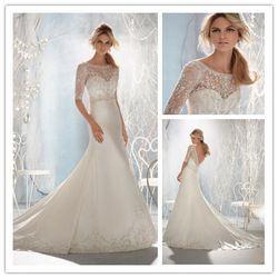 Online Shop 2014 Fashion Mermaid Satin Lace Zipper Wedding Dresses Custom Size:2+4+6+8+10+12++++|Aliexpress Mobile