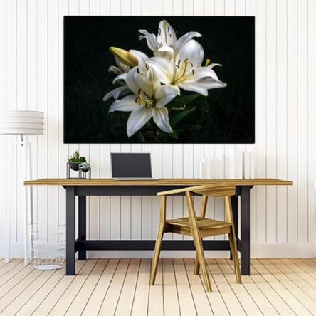 Oriental Lilies #3 | Framed or Stretched Canvas Print | 3 Sizes