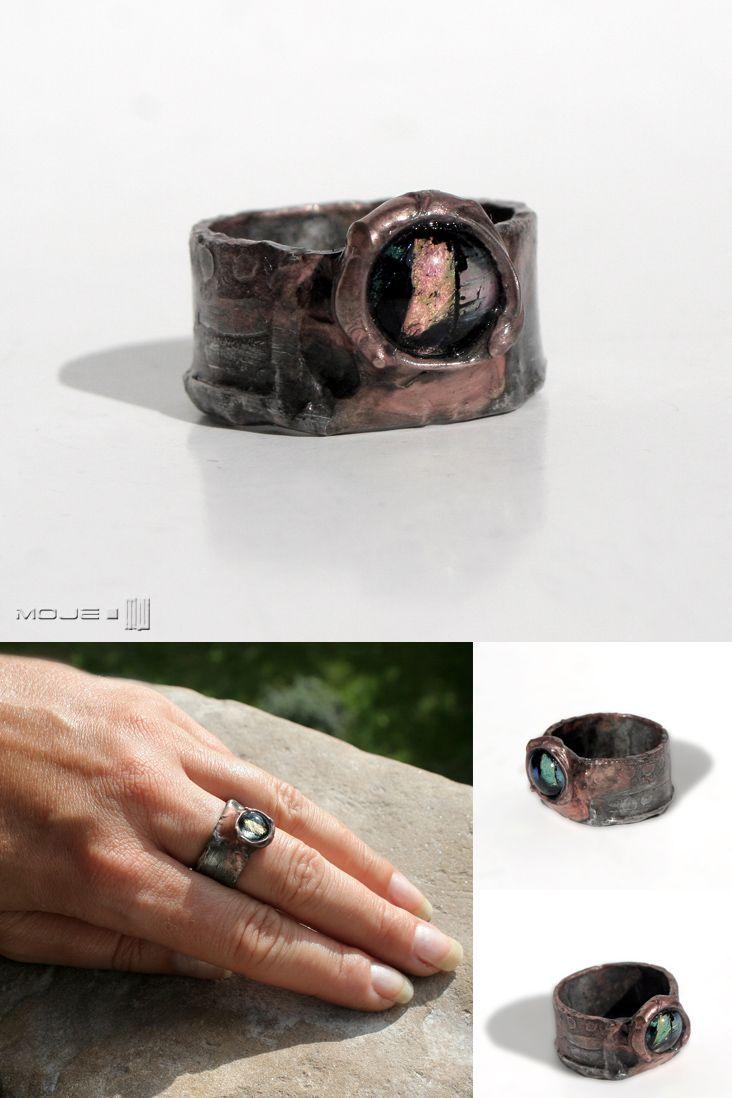 Córka Amaterasu, obrączka ze szklanym okiem /  Amaterasu's daughter, a ring with a glass eye. Moje MW