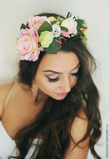 Диадемы, обручи ручной работы. Ярмарка Мастеров - ручная работа. Купить Венок из цветов на голову «Нежность уходящего лета». Handmade.
