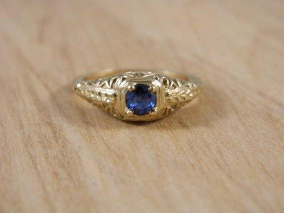 Sapphire Gold Ring 10k Yellow Gold Ring Vintage Sapphire Ring Art Deco Engagement Ring Gemstone Vintage Gold Rings Yellow Gold Rings Deco Engagement Ring
