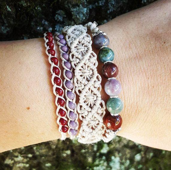 Knotted Hemp Bracelet Stack Boho Bracelets by WattsKnotsBoutique