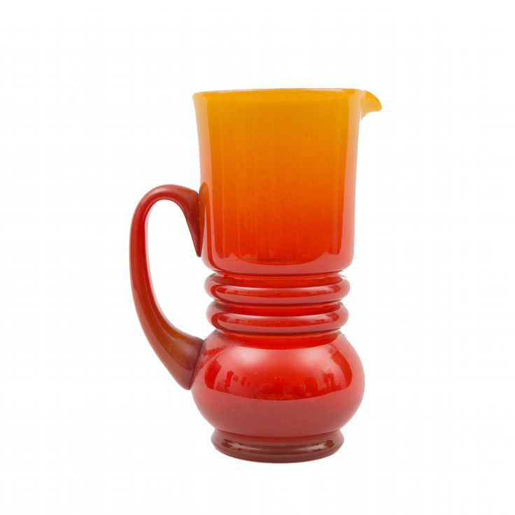 Red and orange vase or pitcher designed by polish glass designer - Lucyna Pijaczewska; http://www.wonderroom.pl/