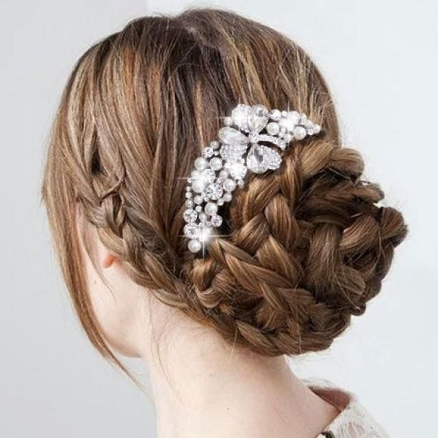 Beautiful Wedding Bridal Braided Updo Hairstyle with Rhinestone Crystal Hair Comb