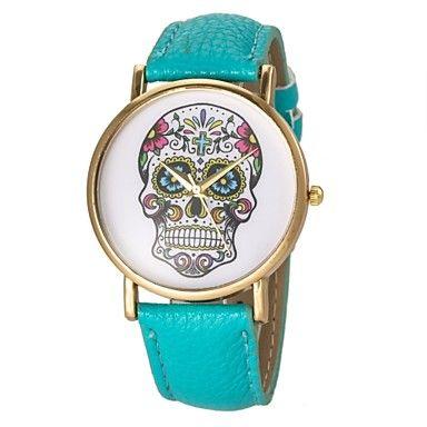 reloj patrón de cráneo de la manera de las mujeres