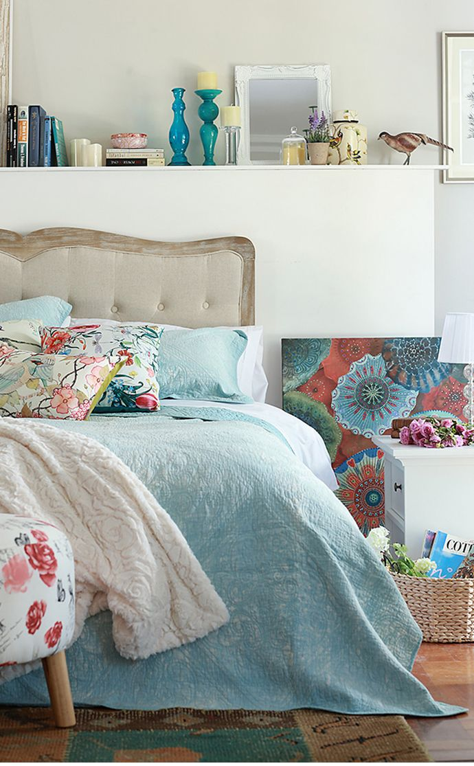 Nos encanta el #estilo #Garden en el #dormitorio, #romántico y #natural. #Cama #Celeste #Homy