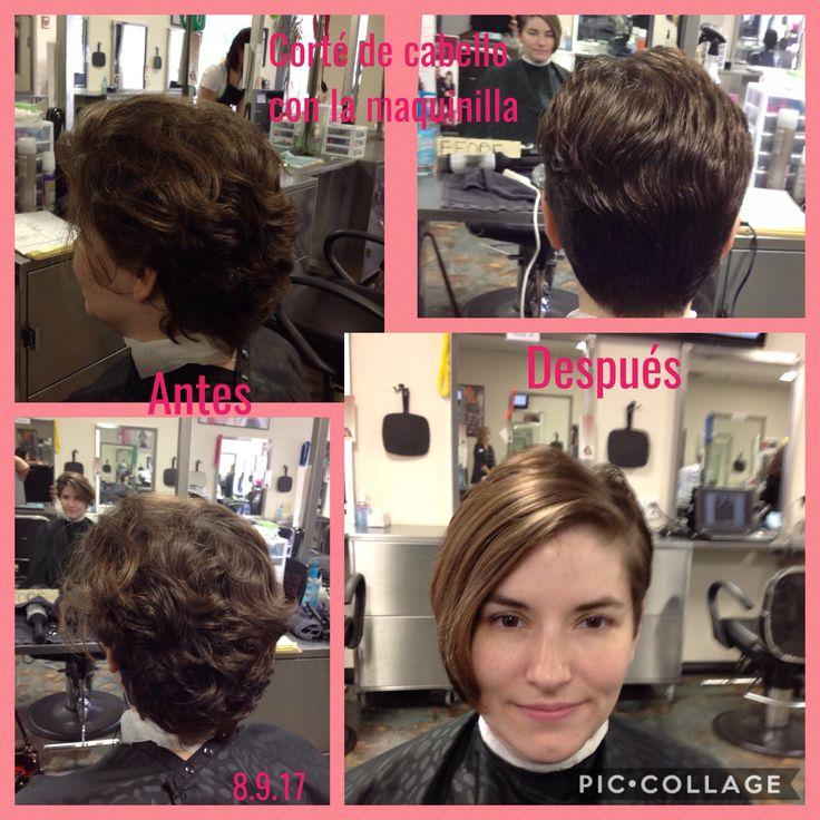 Corte de cabello con la maquinilla y la guarda #8 y el area del flequillo lo corte a un ángulo de 90 grados. Para secar el cabello utilice el thermal image y Wella Perfect me.