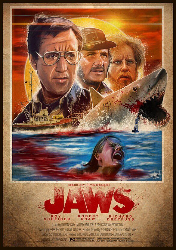 Jaws in 1975 Spielberg releases jaws to theaters an absolute thriller that keeps you on your seat and is still successful today