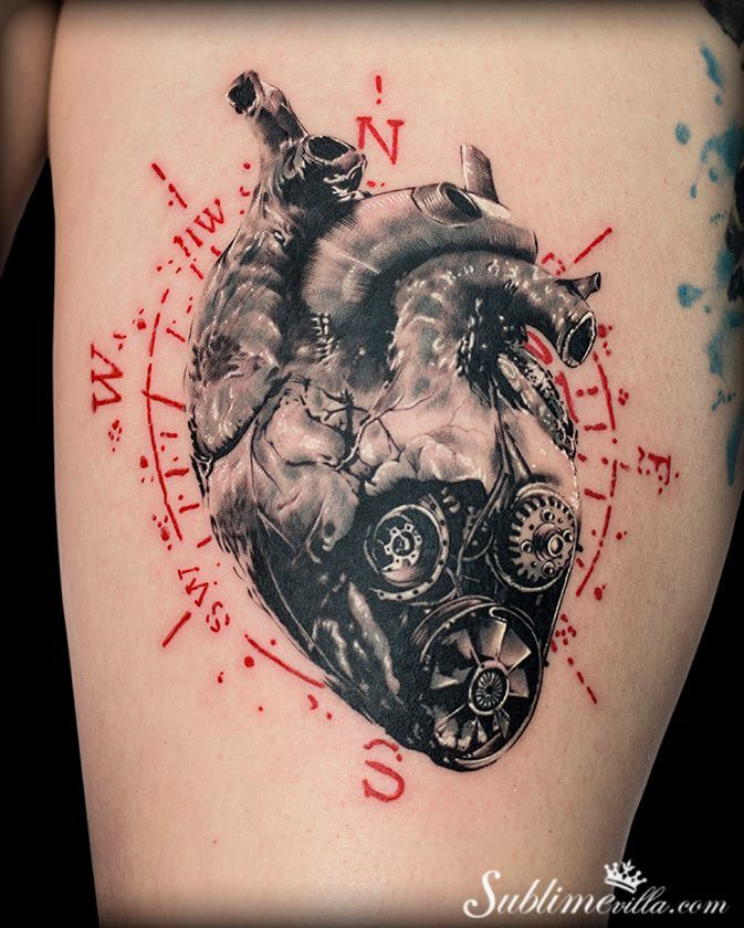 mechanical heart with compass tattoo - Miguel Martins