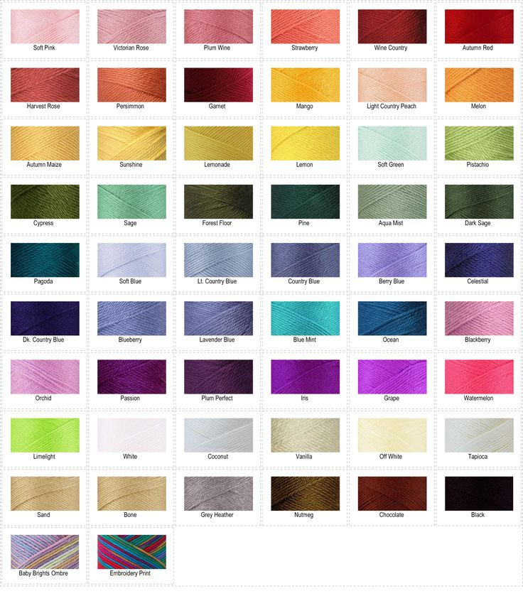 Caron Simply Soft color chart. LOVEING using the jewel tones!