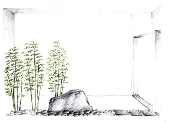 Zen/ Contemporary Gardens - Sketches Portfolio by Silvia Sacramento, via Behance