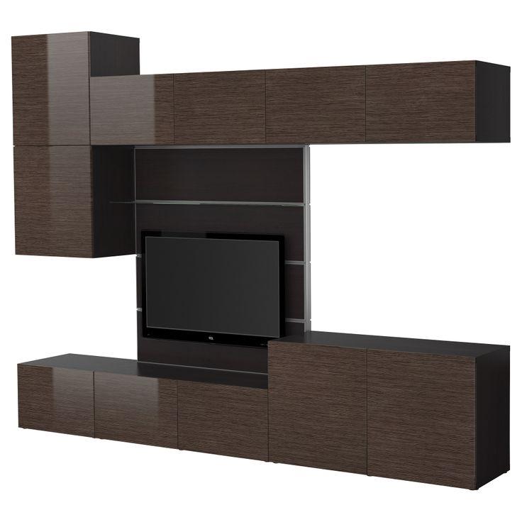 BESTÅ/FRAMSTÅ TV Storage Combination   Black Brown Bamboo Pattern/high Gloss