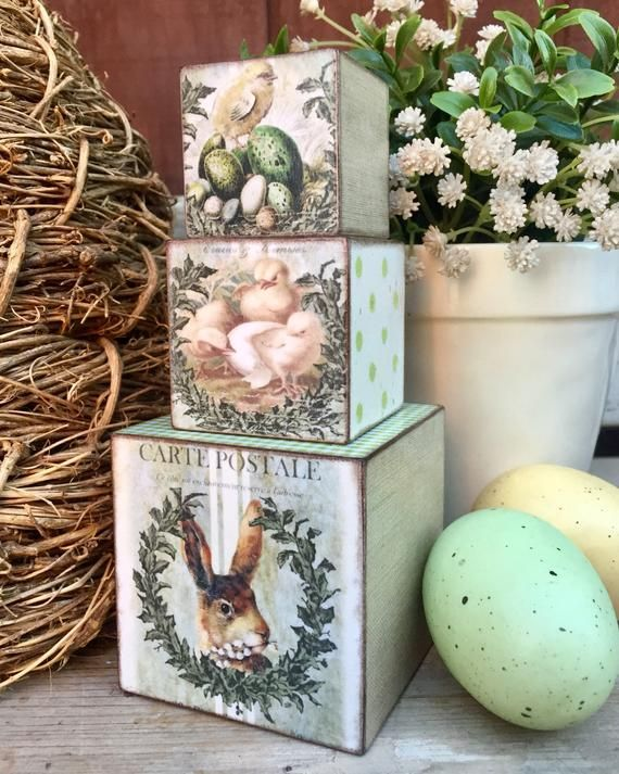 Cottage Easter Decor Blocks French Country Easter Mantle Shelf