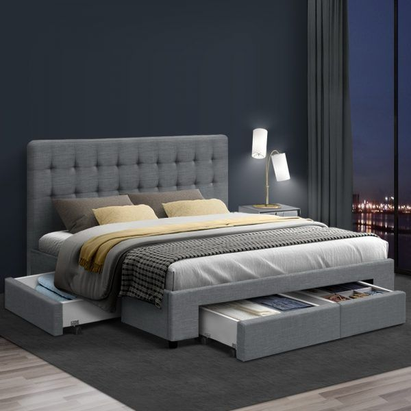 Double Bed Frame With 4 Storage Drawers Avio Fabric Headboard Wooden Bed Frame With Storage Queen Size Bed Frames King Size Bed Frame
