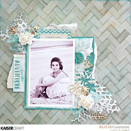 """Live the Adventure"" Layout by Alicia McNamara Design Team member for Kaisercraft Official Blog. Featuring their DD 550 'Coral' Decorative Die and DD 741 'Fishing Net' Decorative Die and their ""Island Escape' collection. (February 2017) ~ Wendy Schultz ~ Scrapbook Layouts."