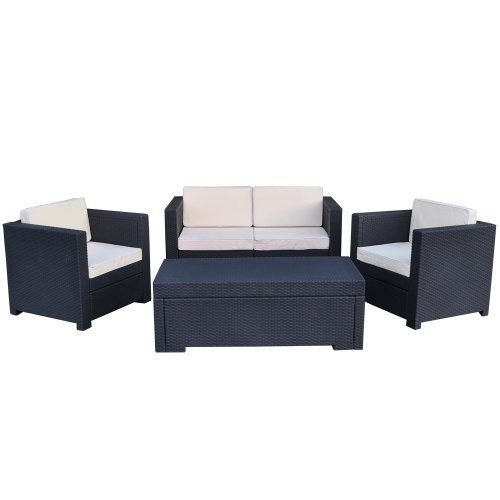 Atlantic Riviera 4 Piece Conversation Set By Keter Grey By Atlantic 100 Percent High