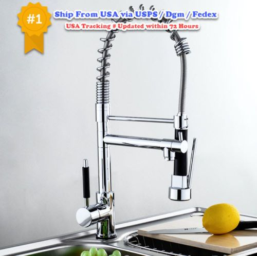 Kitchen-Sink-Faucet-With-Pull-Out-Sprayer-Tap-Single-Handle-Chrome-Brass-Brush