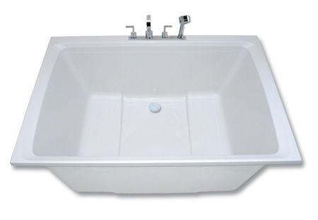 Xanadu 2 seat deep soaking tub side view showing two for Deep built in bathtubs