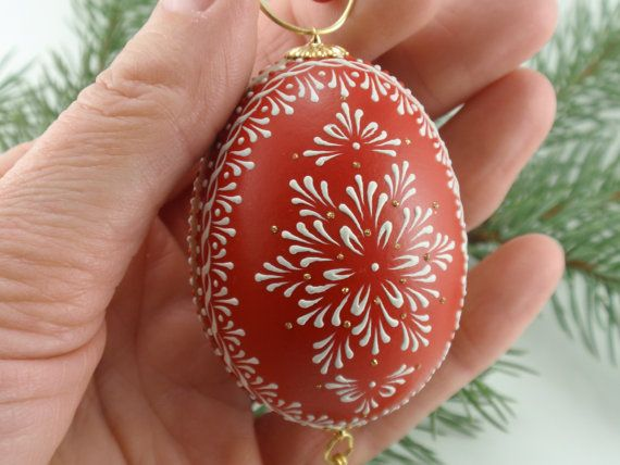 Egg Pysanka Ornament in Red, Hand Painted Chicken Egg, Wax Embossed Egg We may have had one of these...