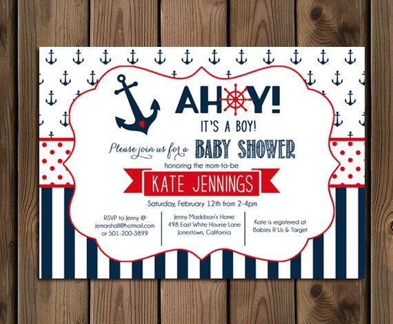 Nautical Baby Shower Invitation - Ahoy Its A Boy - Navy and Red - Anchor and Stripes - DIY - Printable - 73 by Silvergaze on Etsy https://www.etsy.com/listing/215273085/nautical-baby-shower-invitation-ahoy-its