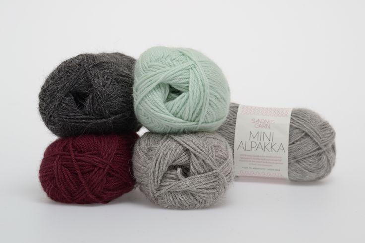 Mini Alpakka: Plomme 4554, Lys gråmelert 1032, Mørk gråmelert 1053, Mint 7513 #sandnesgarn