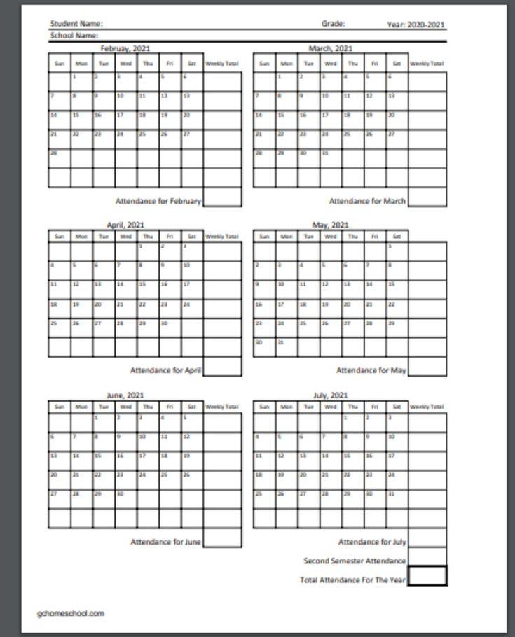 Free Homeschool Attendance Calendars 2020-2021 in 2020