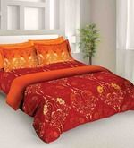 Buy Tangerine Fete Orange Cotton Double Bed Sheet Set (with Pillow Covers)  Online: Shop from wide range of Bed