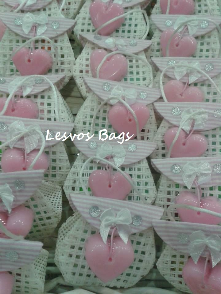 heart soaps with beautiful ivory bags