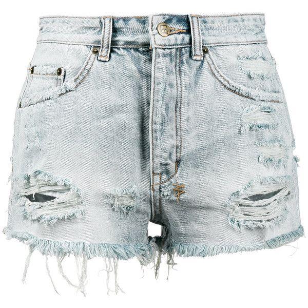 Ksubi Tongue n Cheek High Rise Denim Shorts (210 AUD) ❤ liked on Polyvore featuring shorts, blue, short jean shorts, blue shorts, high rise denim shorts, blue jean shorts and high rise jean shorts