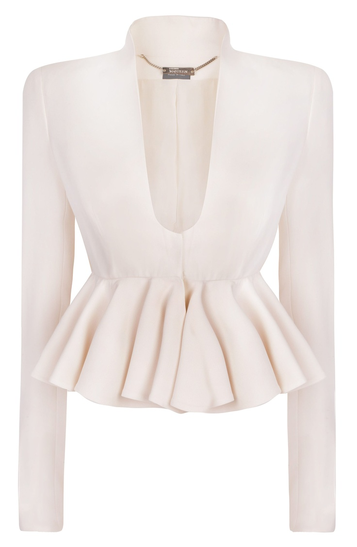 IVORY CROPPED RUFFLE JACKET  Alexander McQueen