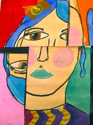 Cubist Self-Portraits in the Style of Pablo Picasso by 2nd Grade