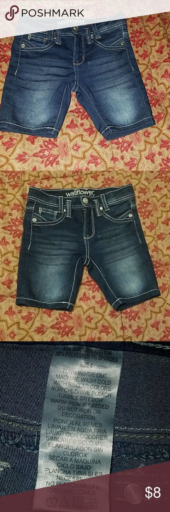 Size 4 little girls Wallflower jean shorts These are a dark jean (second pic accurate color)they are adorable and in good used condition Wallflower Bottoms Shorts