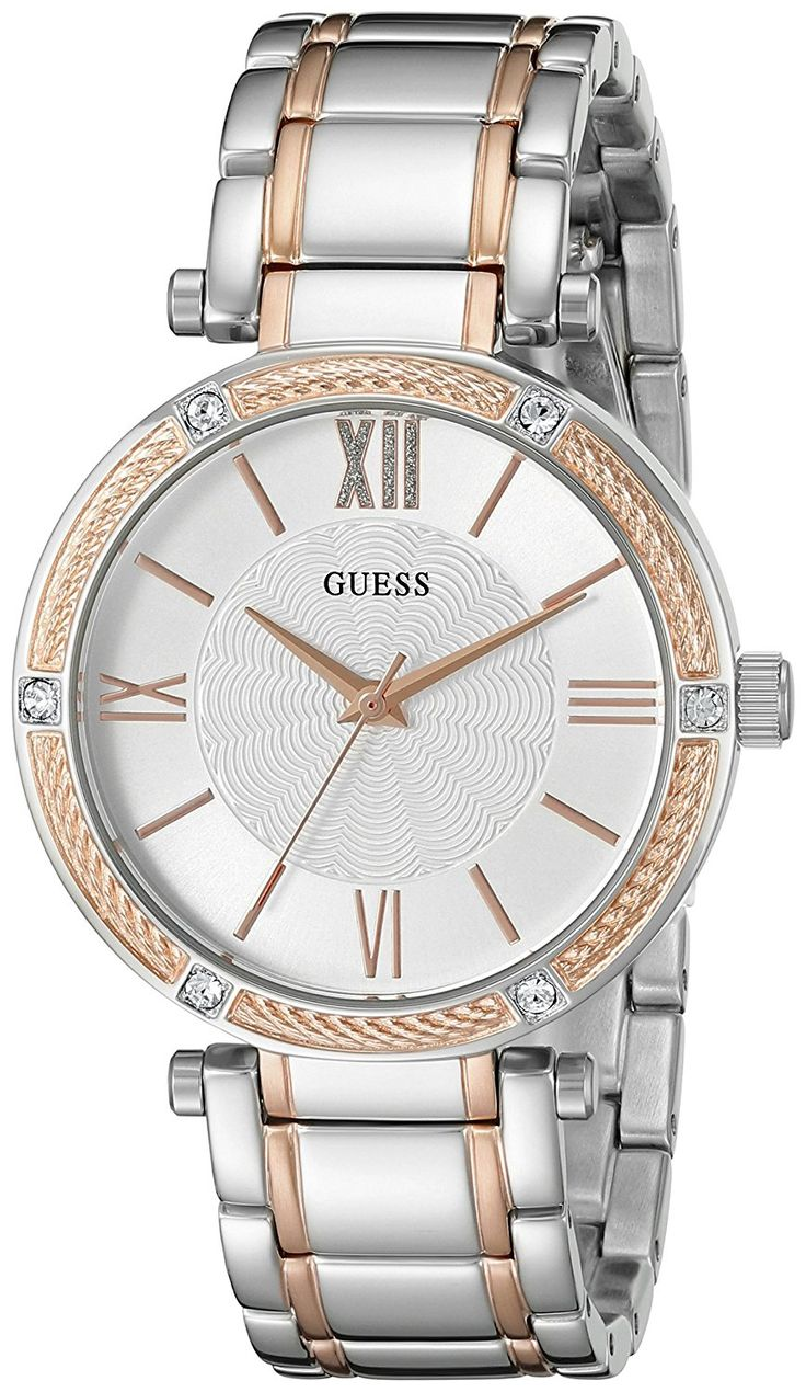GUESS Women's U0636L1 Classic Silver and Rose Gold Two-Tone Watch ** Learn more by visiting the image link.