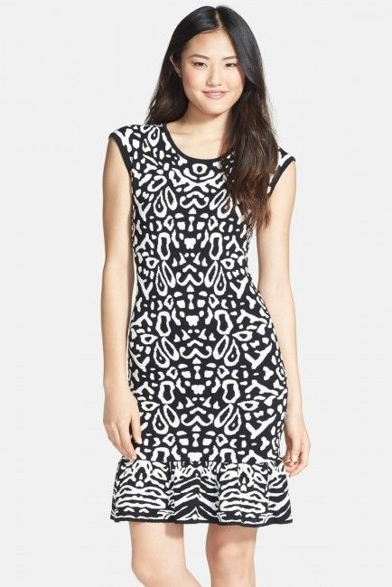 Felicity and Coco FELICITY COCO Flounce Hem Jacquard Body-Con Sweater Dress (Regular Petite) (Nordstrom Exclusive) Is on sale now for -25 % !