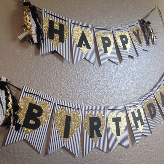 Black And White Striped Gold Glitter Happy By Julesandkenna Party