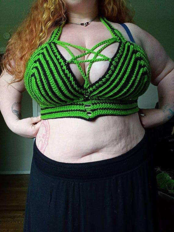 Green White Purple Crochet Bralette Blue