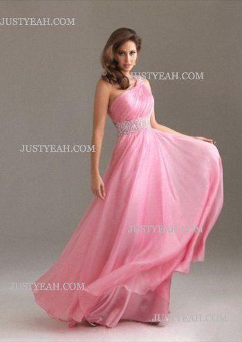 One Shoulder Sleeveless Floor Length Pink Evening Dresses