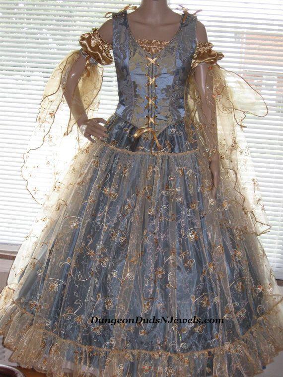 DDNJ Choose Fabrics 4pc Gilded Fairy Queen Princess Renaissance Fantasy Larp Anime Wedding Plus Custom Made Your Any Size. $375.00, via Etsy.