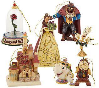 Jim Shore Disney Traditions Beauty & the       Beast Ornaments