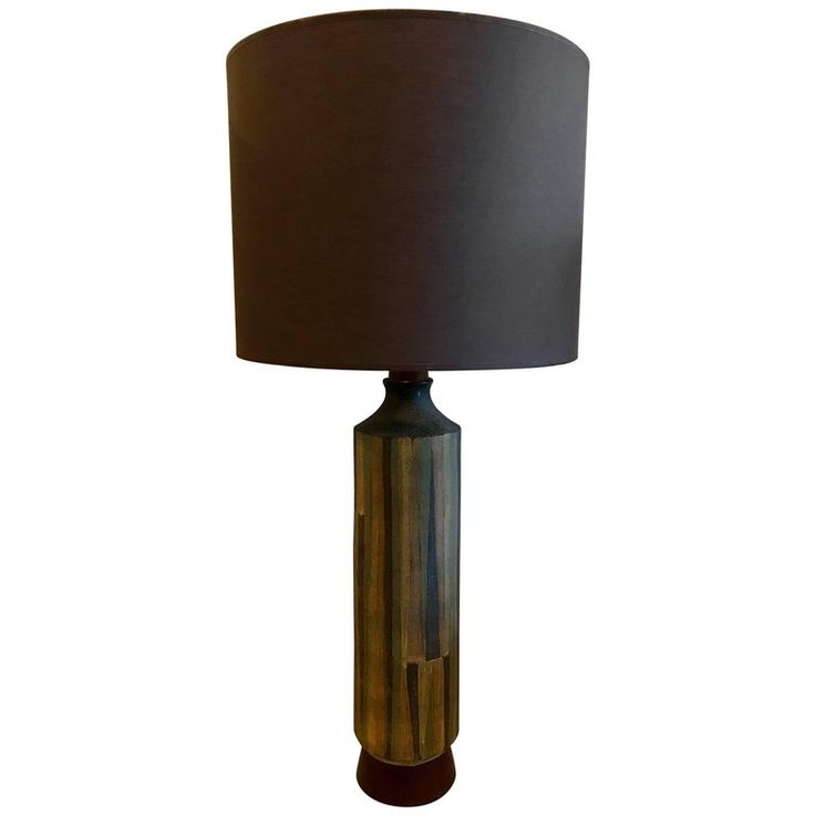 Large Ceramic Table Lamp in the Style of Aldo Londi for Bitossi, Italy, 1960s | From a unique collection of antique and modern table lamps at https://www.1stdibs.com/furniture/lighting/table-lamps/