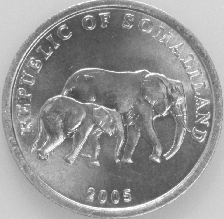 5 Shilling #Somalilad -2005 Raffigura un elefante africano con il suo piccolo.
