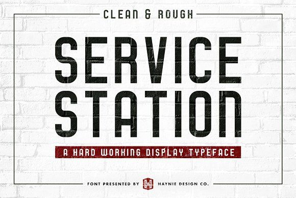 Service Station Vintage Repair #Font by Haynie Design Co. on @creativemarket  Service Station calls back to the local auto repair shops of yesteryear.  Features small caps, italics, regular and rough versions.
