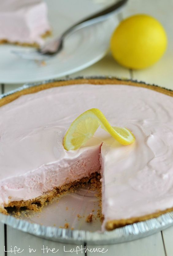 Frozen Pink Lemonade Pie.. I bet this would be good with strawberries cut up inside too