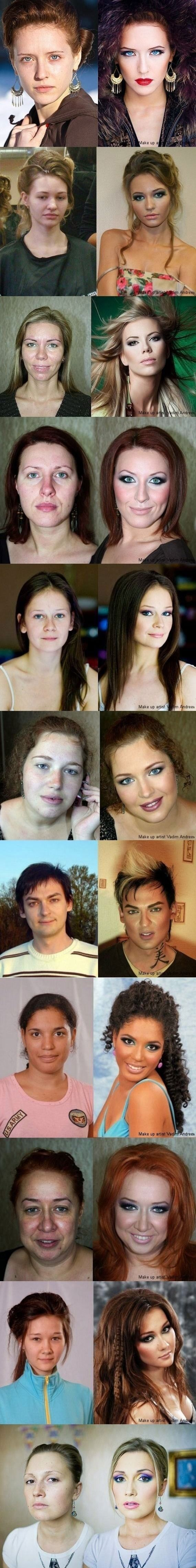 "So cool, but this is what they do to models. The women we look to are fake, which is sad, because a lot of problems are caused by ""beautiful"" women. Oh well. It's still amazing what they can do with makeup"