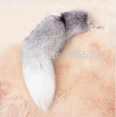 Big Fox Fur Tail Keychain Blue Fox Tail Tassel Bag Handbag Pendant Accessory 16""