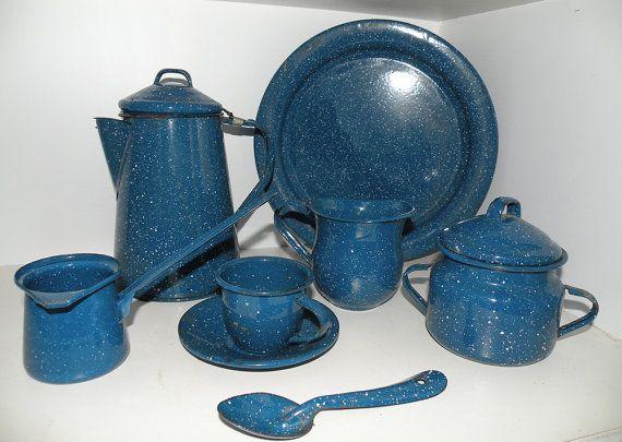 Vintage Enamel Cookware | Vintage Camping Cookware Set Blue Enamel by sitandsingvintage
