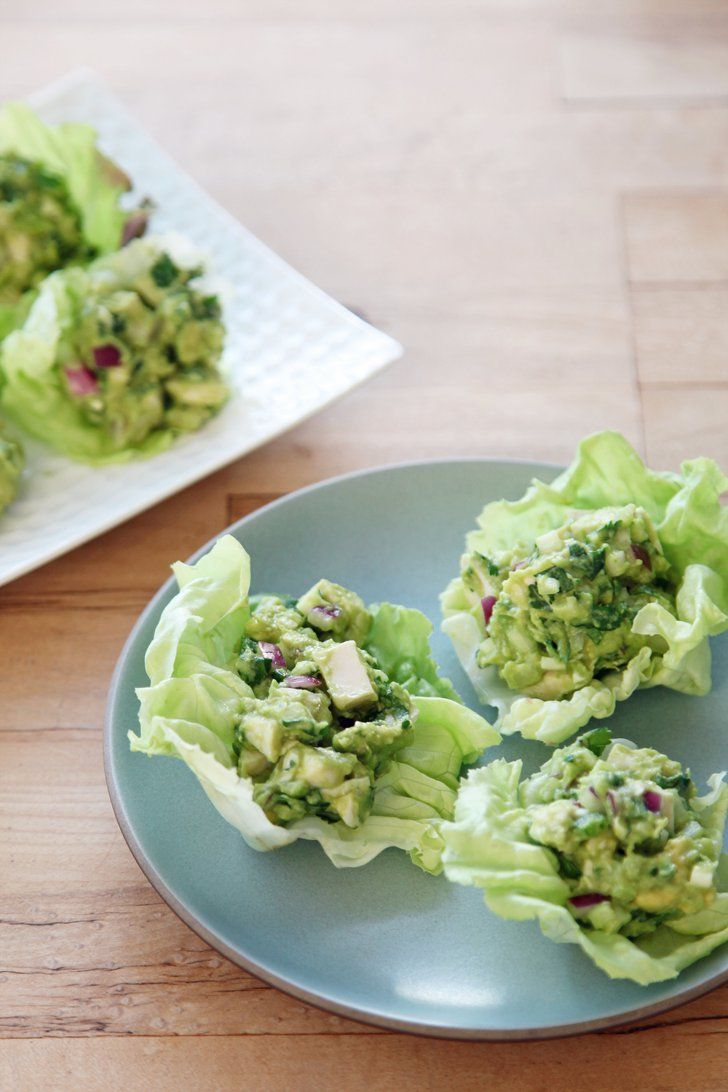 Pin for Later: 23 Lettuce Wrap Recipes, Because Sometimes You Just Don't Want Bread Guacamole Chicken Salad Lettuce Wraps Get the recipe: guacamole chicken salad lettuce wraps