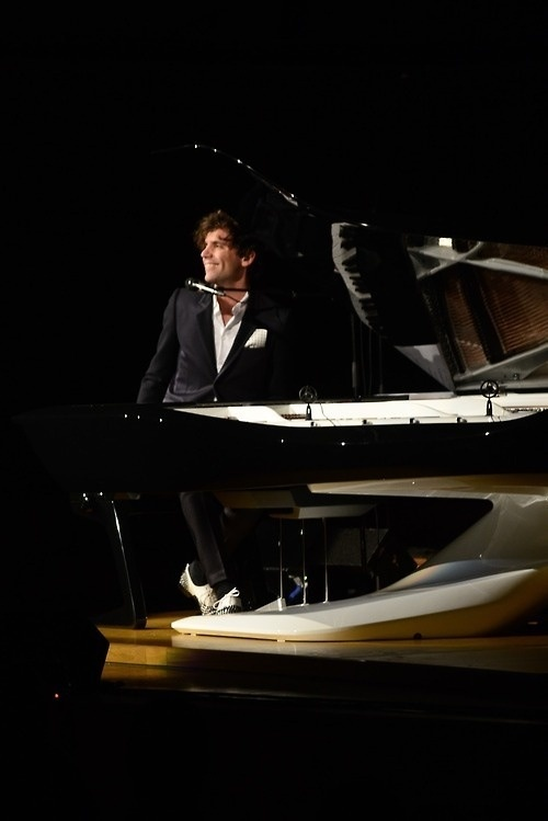 Mika performing in the first private concert for the Peugeot Design Lab piano