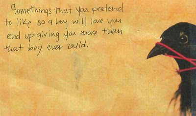 Love this PostSecret card today...  Thanks to all my exes and ex crushes.  My musical taste is pretty phenomenal thanks to y'all.